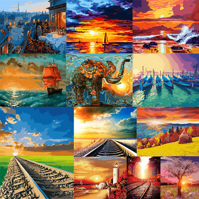 Sunset Scenery DIY Paint By Numbers Kit Digital Oil Painting Art Home Wall Decor