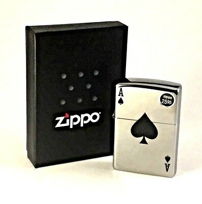 BRAND-NEW Zippo Lucky Ace High Polish Chrome Windproof Lighter In Box, # 24011
