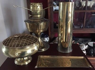 mixed brass lot to include oil lamp base vases etc. 4 pieces