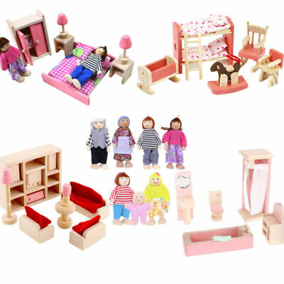 Kid Pink Wooden Furniture Dolls House Miniature 4 Room Set Doll For Xmas Gift LK