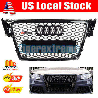 Audi A4 S4 B8 RS Style Honeycomb Type Mesh ABS Front Gloss Black Grill for 09-12