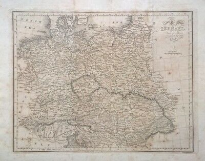 RARE Original Edwd Baines Antique Map of Germany 1814 defined by Peace of Paris