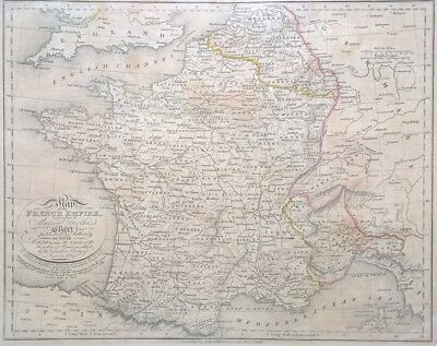 RARE Original Edwd Baines Published 1814 Antique Map The French Empire 1804
