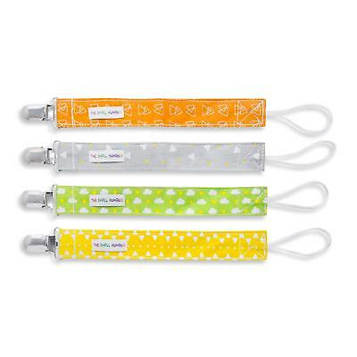 Baby Dummy Clip Set - 4 x Unisex Designs for Soother/Pacifier + Boys/Girls