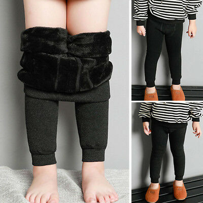 Winter Boys Girls Kids Thicken Fleece Lined Warm Stretch Leggings Pants Trousers