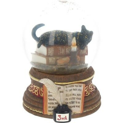 "Lisa Parker ""the Witching Hour"" Snowglobe a black cat and candle nemesis now"