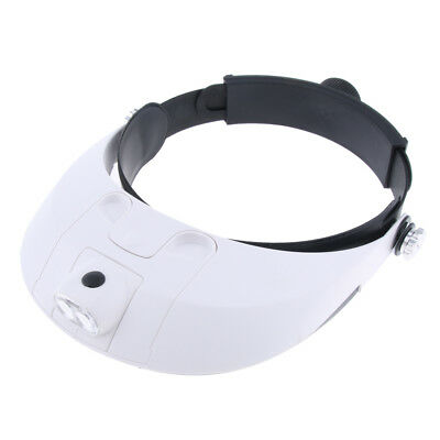 Headband Magnifier LED Head Magnifing Glasses Bracket 5 Replaceable Lenses