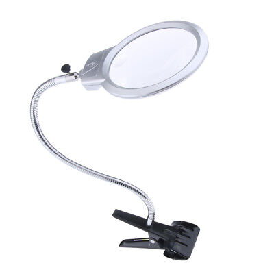 Large Lens Lighted Lamp Table Top Desk Magnifier Glass w/ Clamp LED Light