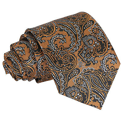 DQT Woven Floral Royal Paisley Gold & Silver Formal Wedding Mens Classic Tie