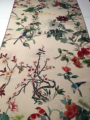 100% Silk Scarf | Crepe De Chine | Birds & Flowers Nature 🇦🇺 Crafted 51x184cm