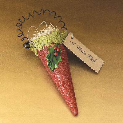 Wendy Addison ~RED GLITTER CONE ORNAMENT~ Retired and NWT!