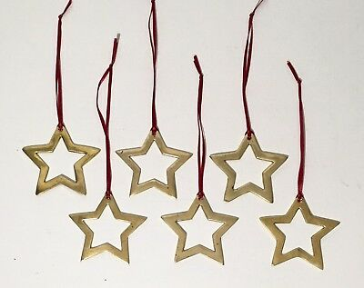 """Lot of 6 Vintage Solid Brass Hand Cut 3"""" Star Christmas Tree Ornaments"""