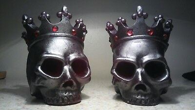 """2~ A Set of Bleeding Skull Candles 4.25"""" Wax is RED"""