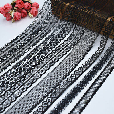 10 yards ''1.4-7.5cm'' beautiful black lace ribbon embroidered dress accessories