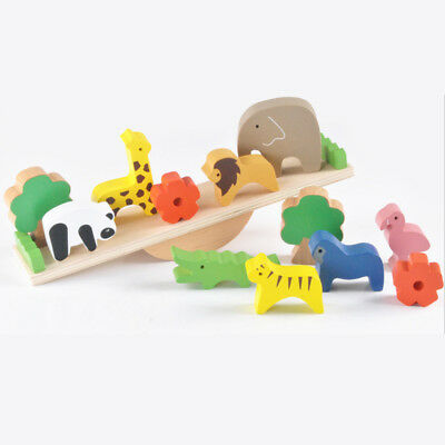 Kids Child Wooden Stacking Animals Seesaw Building Blocks Balance Toys Xmas Gift