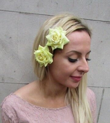 2 Lemon Light Yellow Rose Flower Hair Clips Fascinator Wedding Races Floral 6533