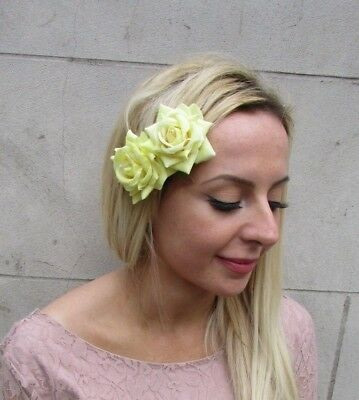 Double Lemon Light Yellow Rose Flower Hair Clip Fascinator Races Floral 6535