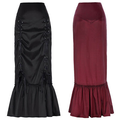 Maxi Fishtail Victorian Ruched Gothic Vintage Skirt N/t Long Steampunk Mermaid
