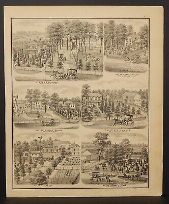 Wisconsin Walworth County Map Farm/Residential Engravings 1873 Dbl Side J22#52