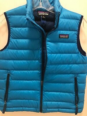Patagonia Boys Down Sweater Vest Size M10 Blue 3900 Picclick