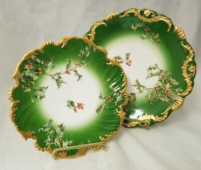 RARE Antique T&V Limoges France Holly Berries Plates Set of 2 Hand painted