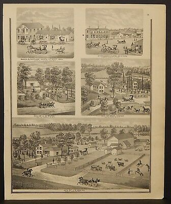 Wisconsin Walworth County Map Weeks Residence Engravings 1873 Dbl Side J22#59