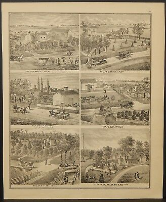 Wisconsin Walworth County Map Paden Residence Engravings 1873 Dbl Side J22#60