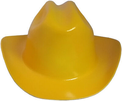 "Outlaw Cowboy Style Safety Hard Hat ""YELLOW"" Ratchet Susp ANSI/OSHA Approved"