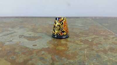 Vintage Handpainted Floral Wood Thimble