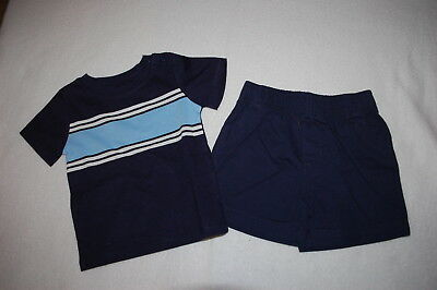 224ae4cda391 Baby Boys Outfit NAVY BLUE S/S TEE SHIRT Baby Blue Stripe SHORTS Woven 6