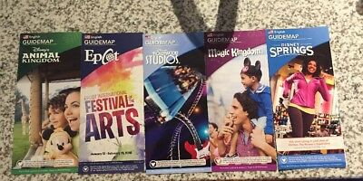 NEW 2018 Walt Disney World Theme Park Guide Maps - 5 Current Maps 1/18