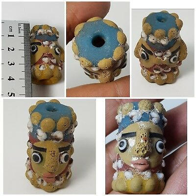 Fantastic old mosaic glass double head bead