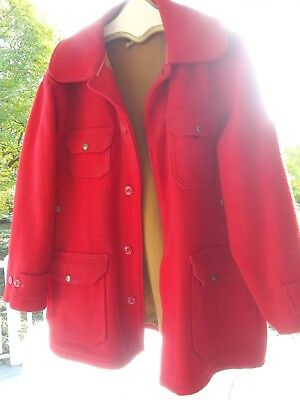 Clean Vintage WOOLRICH Mens RED WOOL HUNTING COAT Size 42 ('50'S OR 60'S)
