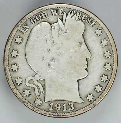 1913 P Barber Half Dollar 50C Choice Vg Very Good (6789)