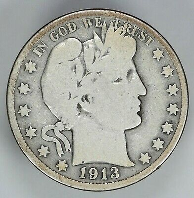 1913 P Barber Half Dollar 50C Choice Vg Very Good (6786)