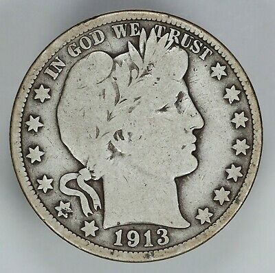 1913 P Barber Half Dollar 50C Choice Vg Very Good (6790)
