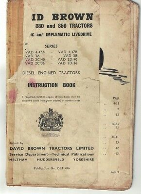 David Brown 880 850 Implematic & Livedrive Tractor Instruction Book 1962 5944F