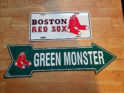 Boston Red Sox License Plate + Green Monster Tin Arrow Signs (USA SHIPS FREE)