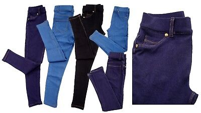 Girls Kids  Stretchy Jeans  Jeggings Denim Look Pants Trousers Legging Age 4-13