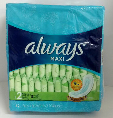 Always Maxi Size 2 Pads, Long-Super, 42 Pads - Torn Packaging