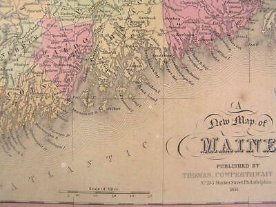 Maine state RARE variant 1851 S.A. Mitchell Cowperthwait antique hand color map