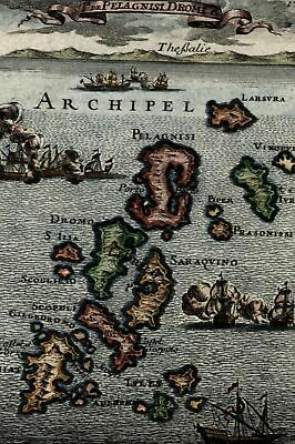 Greece Islands Alonissos Sporades 1683 Mallet antique engraved hand color map