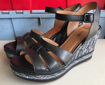 a50e96b81508 Clarks Collection Zia Noble Black Leather Wedge Sandals Size 8.5 M MSRP  110