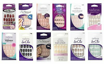 New Nailene Nail Tips with Glue Assorted Patterns Fake False Nails French UK