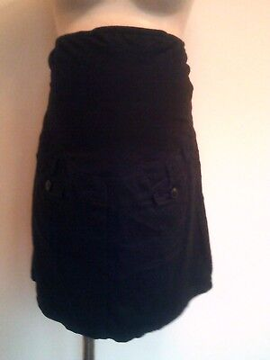 Next Maternity Black Over Bumo Cotton Cargo Skirt Size 14