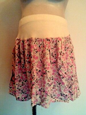 Next Maternity Cream & Pink Print On Bump Flare Short Skirt Size 14