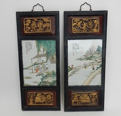 Pair of Antique Chinese artist signed Gilt wood framed porcelain plaques 28""