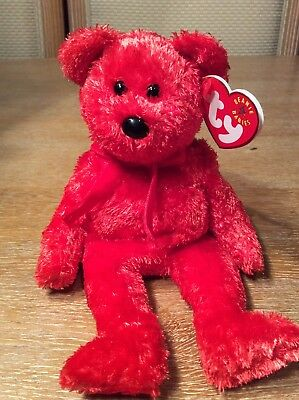 """Ty Beanie Babies """"sizzle"""" The Red Valentine Bear New  Mwmt  Retired Baby"""
