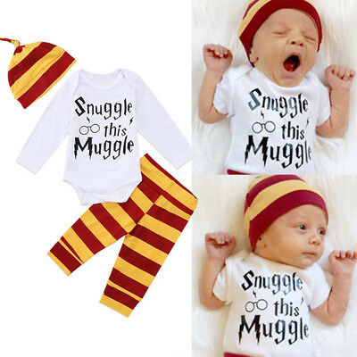 Cute Newborn Baby Boys Girl Harry Potter Clothes Romper Pants Hat Outfit Set