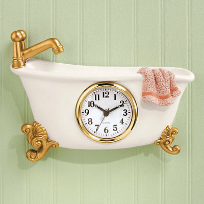 Clawfoot Bathroom Wall Clock Hanging Antique Bathtub Design Decor Retro